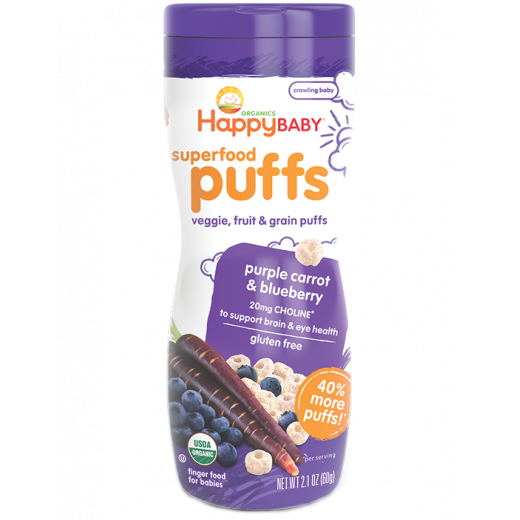 Happy Baby Puffs Purple Carrot and Blueberry - Gluten Free