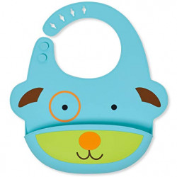 SkipHop Zoo Fold and Go Silicone Bib - Dog