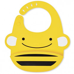 SkipHop Zoo Fold and Go Silicone Bib - Bee