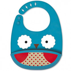SkipHop Zoo Fold and Go Silicone Bib - Owl