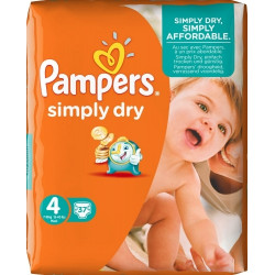 Pampers Simply Dry Nappies Size4 (7-18)kg , 34pcs