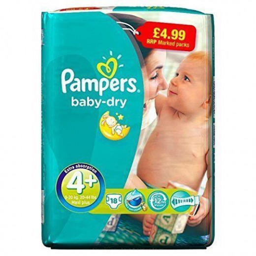Pampers Baby Dry Size 4 Plus  (9-20Kg) (18 diaper)