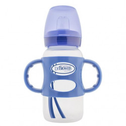 "Dr. Brown's -270 ml Wide-Neck ""Options compatible"" Sippy Bottle w/ Silicone Handles, Blue, 1-Pack"