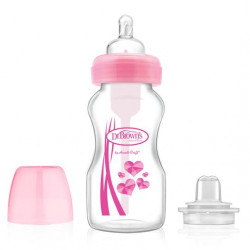 "Dr. Brown's 270 ml Wide-Neck ""Options"" Transition Bottle w/ Sippy Spout - Pink, 1-Pack"