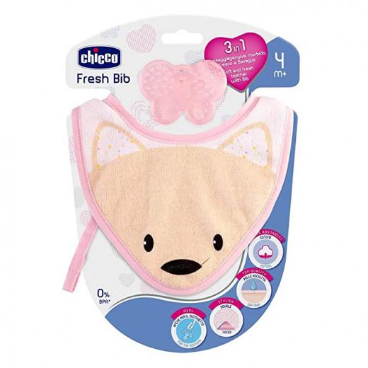 chicco Fresh Bib – Teething Ring with Pink Bib