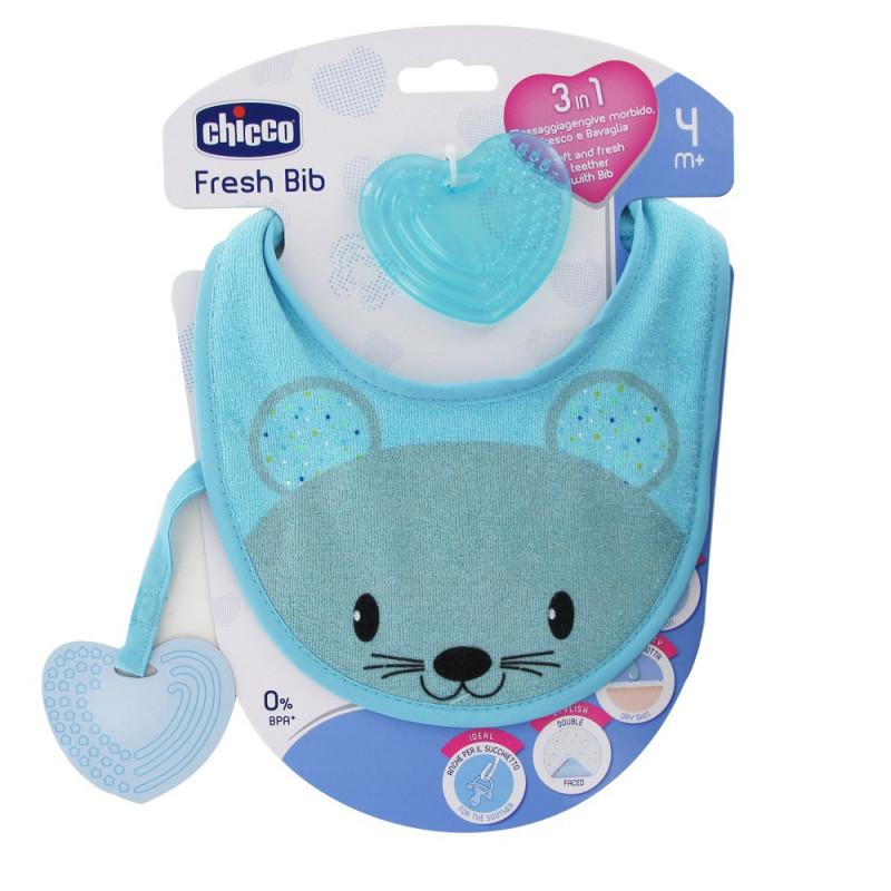 chicco Fresh Bib – Teething Ring with blue Bib  4f7965e5bfb7