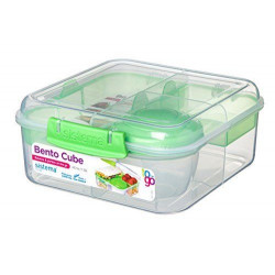 Sistema Bento Cube Box to Go with Fruit, Yogurt Pot, 1.25 L - Assorted Colours