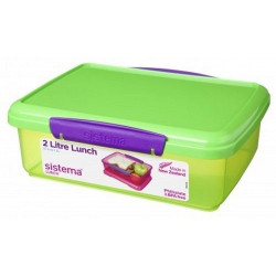 Sistema 2L lunch box storage container BPA-free , Green