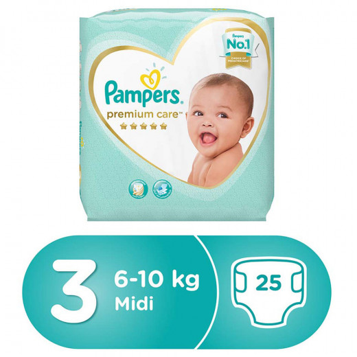 Pampers Premium Care New Baby Pack, Size 3, 25 Disposable Nappies