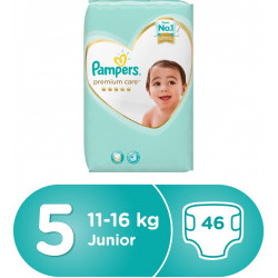 Pampers Premium Care Diapers, Size 5, Junior, 11-16 kg, Mega Pack, 46 Count