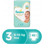 Pampers Premium Care Midi Diapers, Size 3, 1 Value Pack, 5-9 Kg, 62 Count