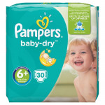 Pampers Baby Dry Nappies Size 6+ Essential Pack 30 Pieces (MADE IN BRITAIN)