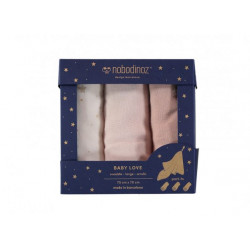 Nobodinoz Baby Love Swaddles Box Pack (Bloom Pink)