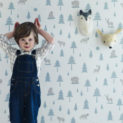Hibou Into the Wild Wallpaper (Grey/Storm Green)