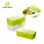 Look Back Lunch Box for Kids Adults, 2 layers, Leak Proof, FDA Approved-Green