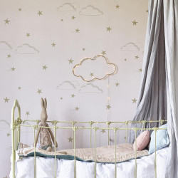 Hibou Starry Sky Wallpaper (Pale Rose/Gold)