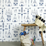 Hibou Teepees Wallpaper (Indigo/White)
