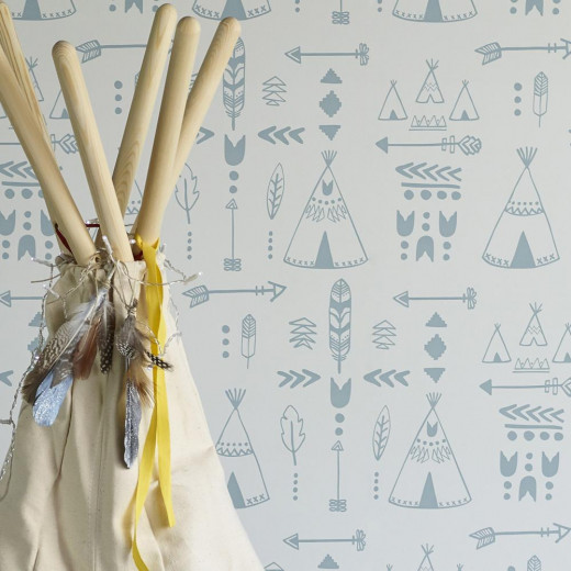 Hibou Teepees wallpaper (Storm Green/Grey)