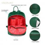 Colorland Fashion Travel Bag Organizer Backpack Diaper Bag Mummy Bag PU Leather - Green