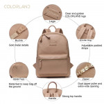 Colorland Fashion Travel Bag Organizer Backpack Diaper Bag Mummy Bag PU Leather - Khaki