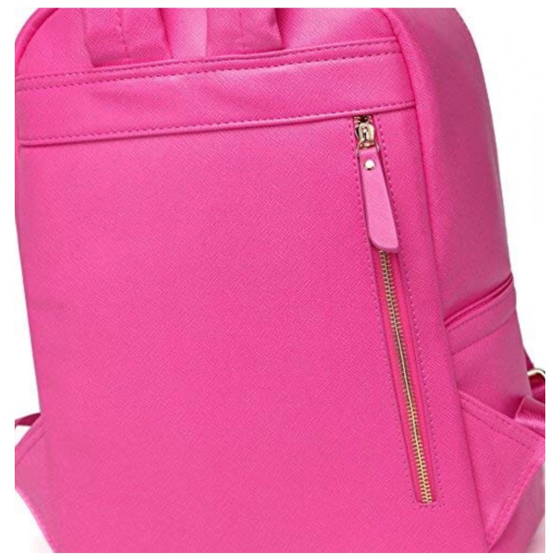 916d498aba ... Colorland Fashion Travel Bag Organizer Backpack Diaper Bag Mummy Bag PU  Leather - Pink ...