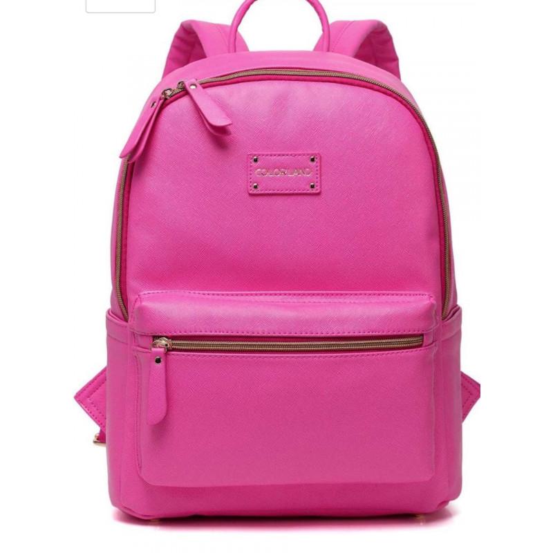 23b0abc312 Colorland Fashion Travel Bag Organizer Backpack Diaper Bag Mummy Bag PU  Leather - Pink