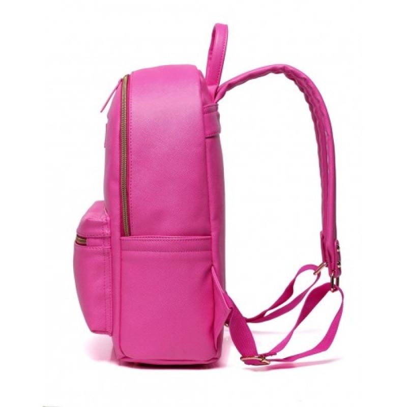 b2675b14e4 ... Colorland Fashion Travel Bag Organizer Backpack Diaper Bag Mummy Bag PU  Leather - Pink