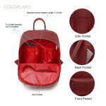 Colorland Fashion Travel Bag Organizer Backpack Diaper Bag Mummy Bag PU Leather - Red
