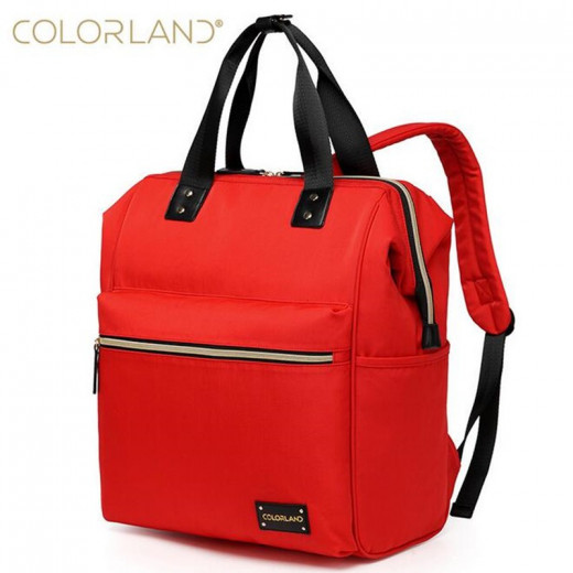 ColorLand Zara Unisex Baby Diaper school Backpack water Resistant (Red)