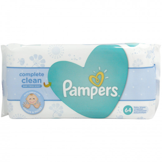 Pampers Fresh Clean Baby Wipes Value Pack, UnScented, 64 Wipes