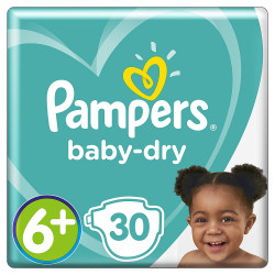 Pampers Baby-Dry Air Channels For Breathable Dryness Overnight, 30 Nappies, 14+ kg, Size 6+