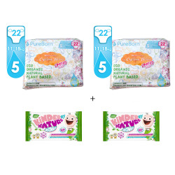 Package 5: Pure Born - Organic Nappy Size 5 X2 + Jackson Reece Unscented Baby Wipes 56 per pack X2