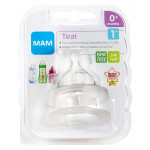 MAM Slow Flow Bottle Teats for use with MAM Bottles (2-pack), Level 1