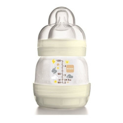 MAM Easy Start Self Sterilising Anti-Colic Bottle, Slow Flow - 130 ml (Pack of 1), White