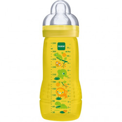 MAM Easy Active Baby Bottle, Fast Flow - 330 ml, Yellow (Designs May Vary)