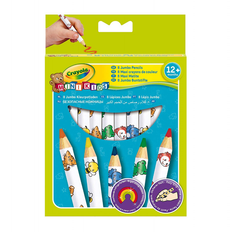 8 Pack Of Crayola My First Easy Grip Jumbo Decorated Colouring Pencils