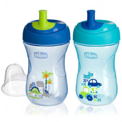 Chicco First Straw Trainer No Spill Sippy Cup 12M+, 9oz Blue or Green