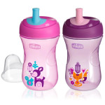Chicco First Straw Trainer No Spill Sippy Cup 12M+, 9oz Pink or Purple
