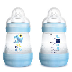 MAM Easy Start Self Sterilising Anti-Colic Bottle, Slow Flow (Designs May Vary) - 160 ml, 1 Bottle Only