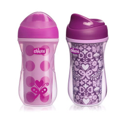 Chicco NaturalFit Insulated Rim Spout Trainer Sippy Cup, 266ml,  Pink or Purple