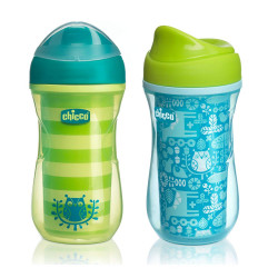 Chicco NaturalFit Insulated Rim Spout Trainer Sippy Cup, 9 Ounce, Green or Blue