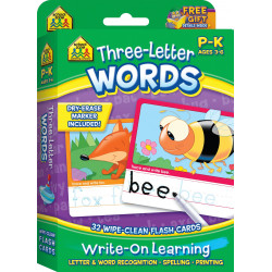 School Zone - Three-Letter Words, Write-On Learning, Interactive Flash Cards