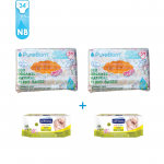 Package 1: PureBorn - Organic Nappy New Born X2 + Septona Baby Wipes with Organic Olive Oil 60pcs X2