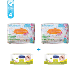 Package 4: Pure Born - Organic Nappy Size 4 X2 +  Septona Baby Wipes with Organic Olive Oil 60pcs X2