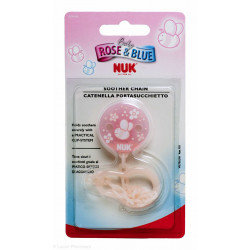 Nuk Soother Chain With Clip Rose