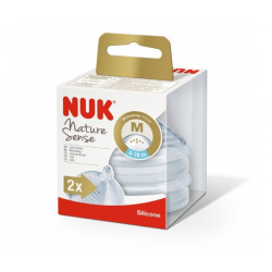 NUK Nature Sense Silicone Medium Feed Hole Teats X2 Nipples, (6-18 months)