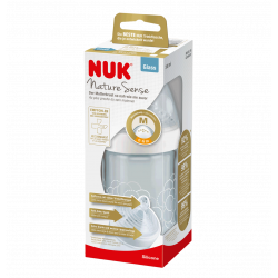 NUK Nature Sense Glass Bottle, 240 ml, (0-6 months), Assorted Models