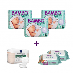3x Bambo Nature Size 1 (2-4Kg), 28 Count + 2x Bambo Nature Wet Wipes 80 count 1x maternity pad
