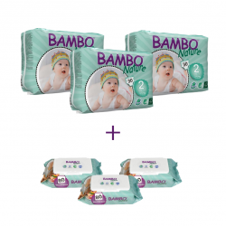 3x Bambo Nature Size 2 (3-6Kg), 30 Count + 3x Bambo Nature Wet Wipes 80 count