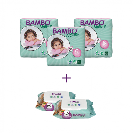 3x Bambo Nature Diapers Classic, Size 6 (16-30Kg), 22 Count + 3x Bambo Nature Wet Wipes 80 count